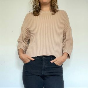 Drop Shoulder Cropped Sweater